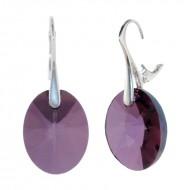 Cercei din argint cu Swarovski Elements Crystal Lilac Shadow xilion oval 18