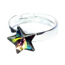 Inel reglabil din argint cu Swarovski Elements Vitral Medium Foiled star