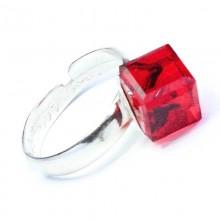 Inel reglabil din argint cu cristal Swarovski Rhinestone Cube siam