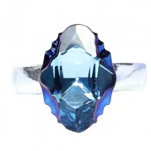 Inel reglabil din argint cu cristale Swarovski Aquamarine Mettalic Blue Foiled