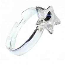 Inel reglabil din argint cu cristale Swarovski Crystal star