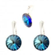 Set cercei si medalion din argint cu cristale Swarovski Bermuda Blue Foiled rivoli 12