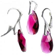 Set cercei si medalion din argint cu cristale Swarovski Ruby pear