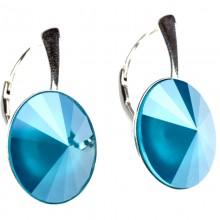 Cercei din argint cu  Swarovski Elements Azure Blue Unfoiled rivoli 14