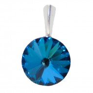 Medalion din argint cu cristale Swarovski Bermuda Blue Foiled rivoli 12