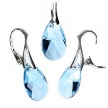 Set cercei si medalion din argint cu cristale Swarovski Aquamarine pear