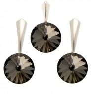 Set cercei si medalion din argint cu cristale Swarovski Silver Night Foiled rivoli 14