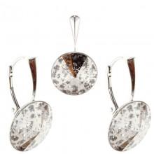 Set cercei si medalion din argint cu Swarovski Elements Rose Patina rivoli 14