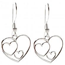 Cercei din argint 925 cu inimioare