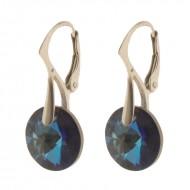 Cercei  din argint cu Swarovski Elements Bermuda Blue  rivoli 12