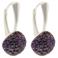 Cercei din argint cu Swarovski Elements violet-amethyst square 10 (hand made)