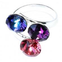 Inel reglabil din argint cu 3 cristale Swarovski xirius