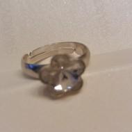 Inel reglabil din argint cu cristale Swarovski Crystal Foiled fancy flower