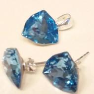 Set cercei si medalion din argint cu cristale Swarovski Aquamarine Foiled Trilliant Fancy Stone