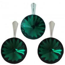 Set cercei si medalion din argint cu cristale Swarovski Emerald Foiled rivoli 14