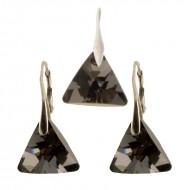 Set cercei si medalion din argint cu cristale Swarovski Silver Night triangle