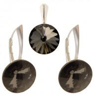 Set cercei si medalion din argint cu cristale Swarovski Silver Night Foiled rivoli 12