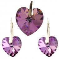 Set cercei si medalion din argint cu cristale Swarovski Vitrail Light heart