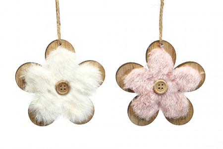 Decoratiune floare de agatat, din lemn
