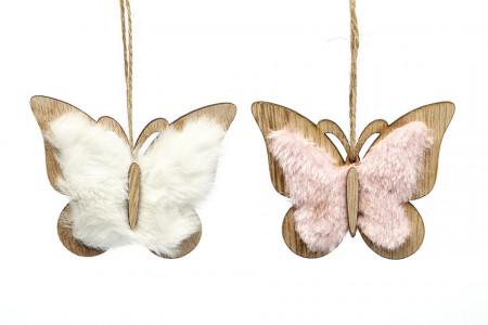 Decoratiune fluture de agatat, din lemn