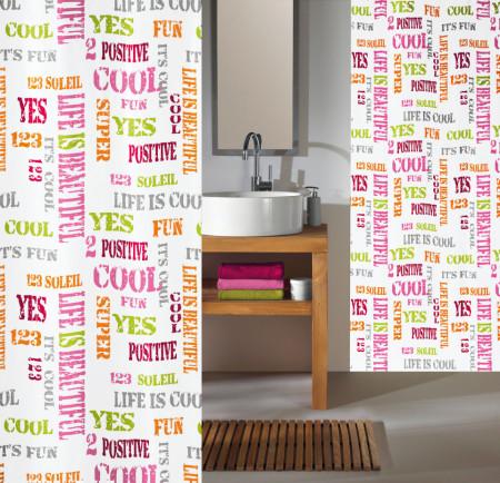 Perdea dus Script, material textil, 180/200 cm