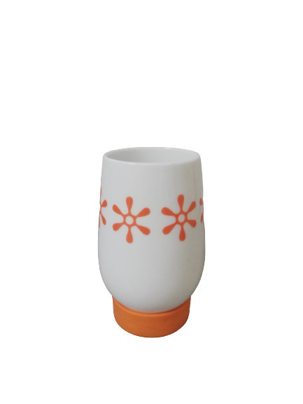 Suport periute dinti ceramica, alb/portocaliu