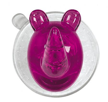 Carlig cu ventuza din plastic, roz/transparent
