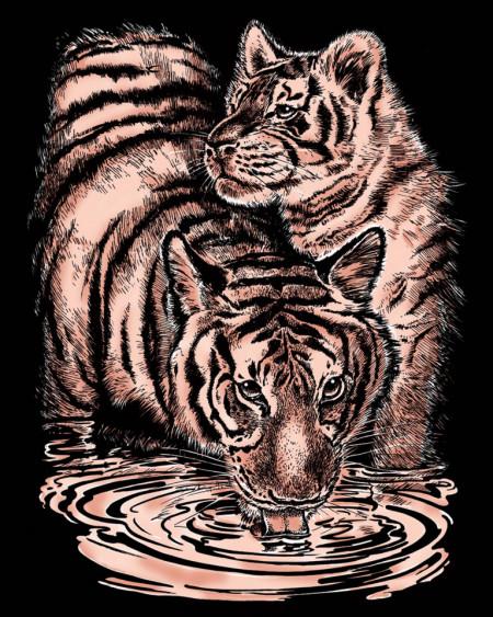 "Desen prin razuire ""Tigrii"" 20,4x25,5 cm"