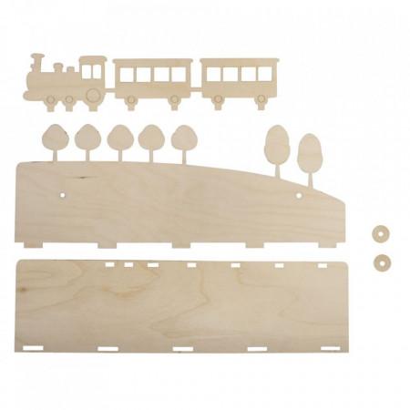 Set creativ raft din lemn cu trenulet