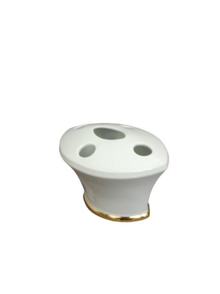 Suport pentru periute de dinti din ceramica, alb/auriu