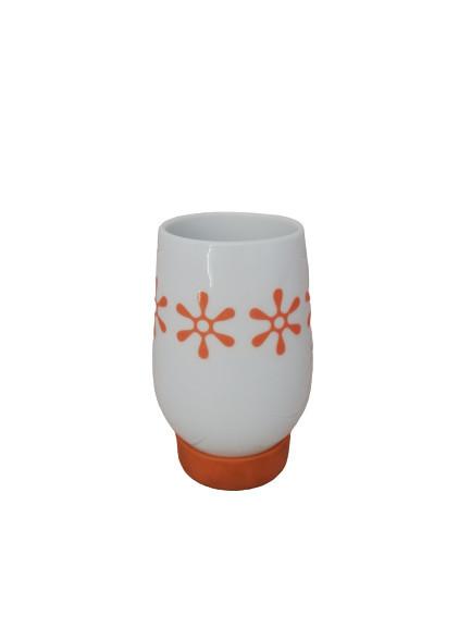 Pahar baie ceramic, alb/portocaliu