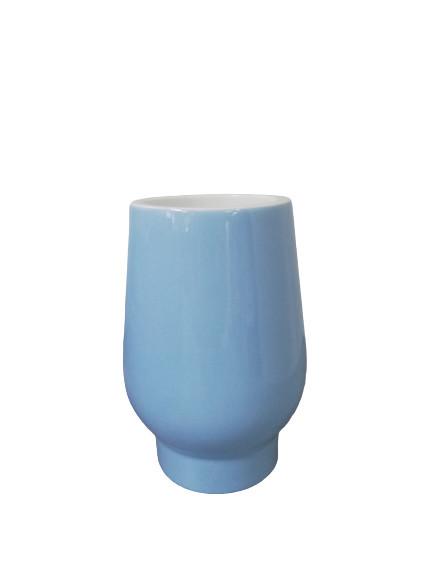 Perie wc cu suport ceramic, Viva, albastru, 45 cm