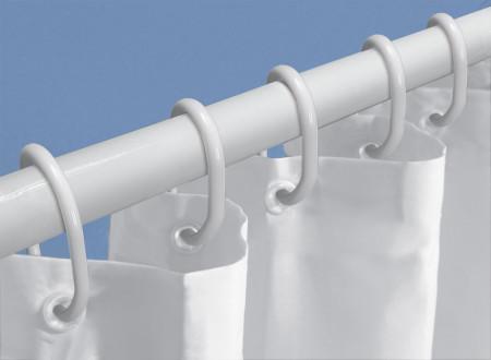 Set 12 inele pentru perdele de dus din plastic, alb