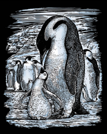 """Desen prin razuire """"Pinguini"""" 20,4x25,5 cm"""