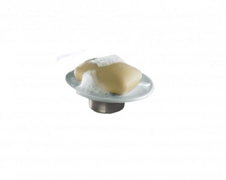 Sapuniera din ceramica, alb/argintiu