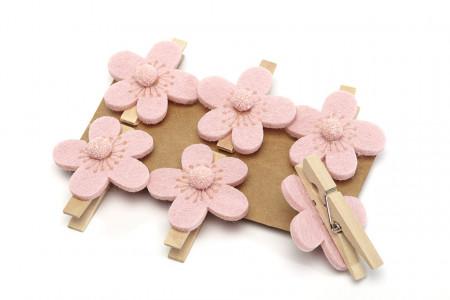Cleme din lemn cu flori, roz
