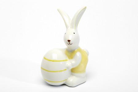 Decoratiune Iepuras galben cu ou, ceramica