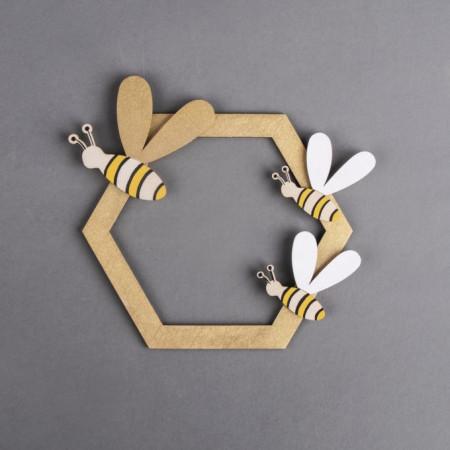 Deco hexagon din lemn cu albine