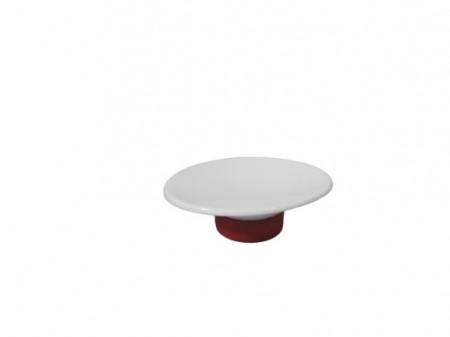 Sapuniera ceramica, alb/rosu