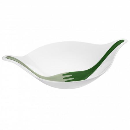 Bol cu ustensile pentru salata, alb cu verde, LEAF XL