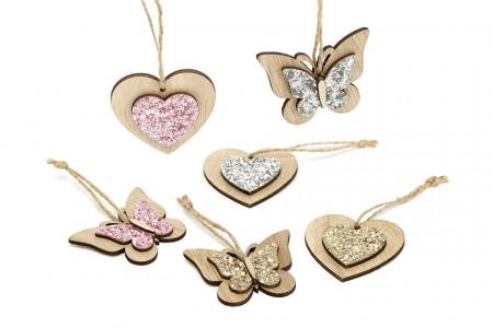 Decoratiune fluturas/inima din lemn de agatat, set 3 buc