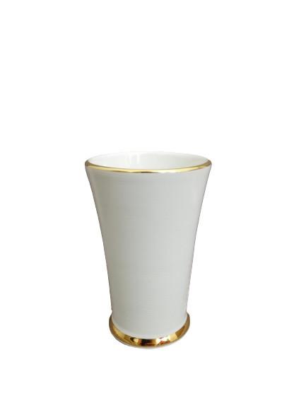 Pahar pentru baie ceramic, alb/auriu