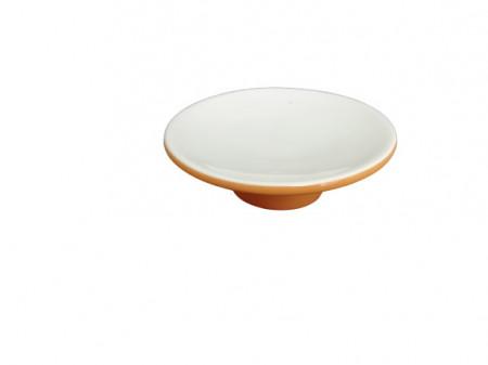 Sapuniera din ceramica, portocaliu/alb