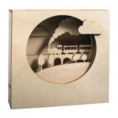 Set creativ din lemn 3D, Trenulet cu rama