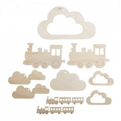 Set creativ din lemn, Nori si trenulet, 10 piese