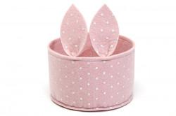 Coș de pâslă cu urechi de iepure, roz