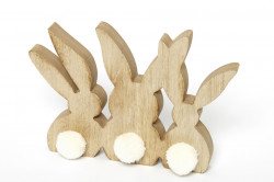 Decoratiune iepurasi de lemn cu codite