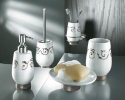 Dozator sapun lichid din ceramica, alb/argintiu