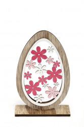 Decoratiune ou din lemn cu flori
