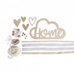 """Deco din lemn cu panglici """"Home"""""""